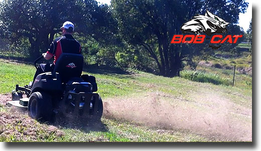 a Bobcat mower blasting grass cuttings from a previously slashed paddock in Gympie Queensland